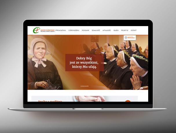 laptop z nową stroną internetową sióstr elżbietanek prowincji wrocławskiej