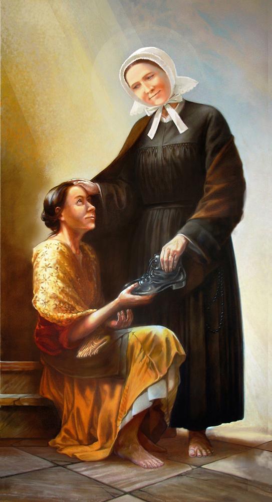 malunek Marii Luizy Merkert, która ofiarowuje bosej dziewczynie swoje obuwie