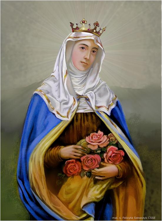 obraz świętej Elżbiety z korona na głowie i różami w dłoniach