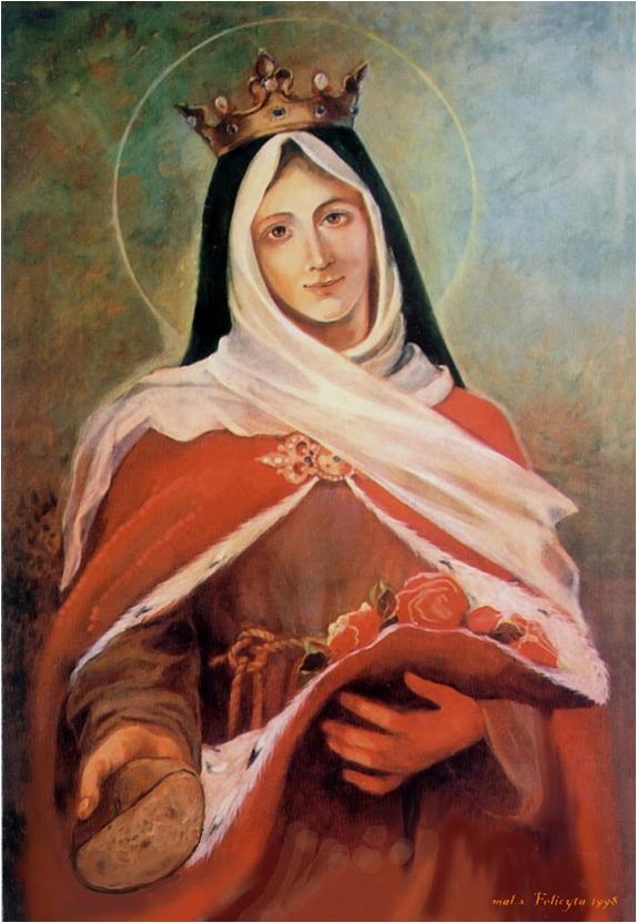 malowidło świętej Elzbiety z bochenkiem chleba w dłoni